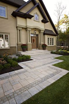 Front Walkway With Steps Ideas Paver Front Door Entrance