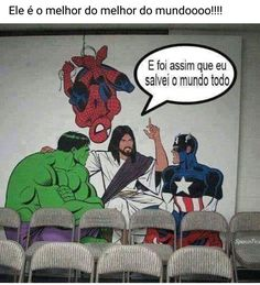 """""""And that's how I saved the world!"""" (I think the Holy Trinity has a sense of humor) Happy Sabbath, Jesus Freak, Friday Humor, Jesus Loves Me, Jesus Saves, God Is Good, Make Me Smile, Funny Pictures, World"""