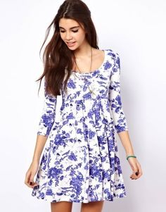 Smock Dress in Toile de Jouy Prin by ASOS Collection