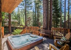 Large sunken hot tub on mid-level deck-perfect after a day on the mountain