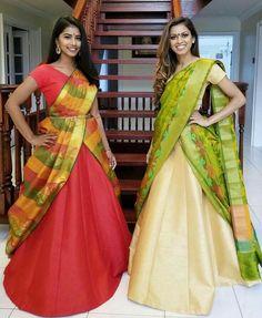 Whatsapp on 9496803123 to customise handwork and cutwork Drape Sarees, Saree Draping Styles, Saree Styles, Half Saree Designs, Lehenga Designs, Blouse Designs, Lehenga Gown, Saree Dress, Sari