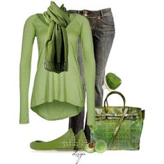 A fashion look from March 2013 featuring denim skinny jeans, studded flats en top handle handbags. Browse and shop related looks.