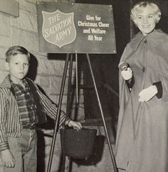Salvation Army history- prominent citizen ringing for Christmas kettles