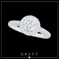 """Love Collection"" 0.72ct Round Diamond with Round Pavé Diamond Shank & Surround. #graffdiamonds #graff #bridal #wedding #engagement #ring"