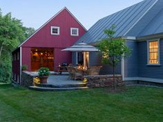 This outdoor terrace provides an outdoor connection between the kitchen and a very unique entertaining space in the barn.
