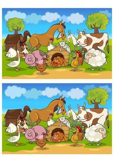 Find out the Differences - Find The Difference Pictures, Spot The Difference Puzzle, Learning English For Kids, Spanish Language Learning, Puzzles For Kids, Games For Kids, Farm Cartoon, Brain Teasers For Kids, Drawing Lessons For Kids