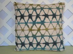 Geometric Pillow Cover in Blue Teal Olive Beige / Blue Beige Pillow / Accent Pillow / Decorative Pillow / 18 x 18 Pillow by JRsPillowsandBags on Etsy https://www.etsy.com/listing/267297065/geometric-pillow-cover-in-blue-teal