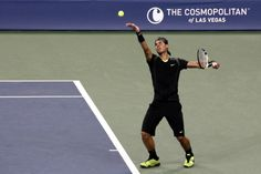Rafael Nadal playing in the US Open.