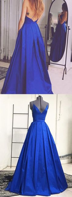 Simple Royal Blue Prom Dress - V-neck Sleeveless Floor Length Backless prom,prom dresses,prom dress,dress,dresses,fashion,fashions