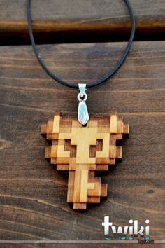 Laser cut and engraved Zelda Master Key wood pendant