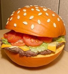 Halloween Hamburger Pumpkin. Can't tell if the food in the middle is real...