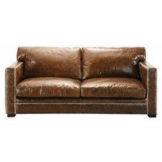 Canapé 3/4 places en cuir marron - Dandy