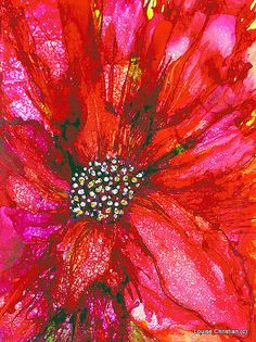 HAPPY VALENTINES MONTH!  ALCOHOL INK VALENTINE LILY PAINTING ON YUPO PAPER..ACRYLIC IN CENTER