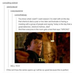 Sherlock season 3. Though I have a theory that Moftiss oft screen #Sherlock things through the net, and whatever good ideas they find, they're sure not to use because they're trying to kill us.