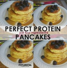 four ingredients perfect protein pancakes - with no added sugar. a perfect meal any time of day.