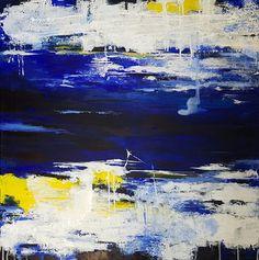 Acrylbild, Abstrakt, Blau, Schwarz, Weiß,Acrylic painting, Aktuelles - Atelier - Malschule Mesch Osnabrück