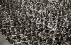 German industrial worker August Landmesser, whose wife was Jewish, refusing to salute Hitler. Hamburg, 1936