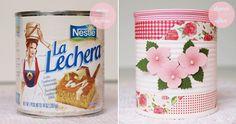transformando uma latinha de leite condensado com washi tape, adesivo e tinta. #casaderetalhos