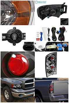 Dodge Ram 1500/2500/3500 Black Headlights+Clear Tail Lamps+Smoked Fog Lights