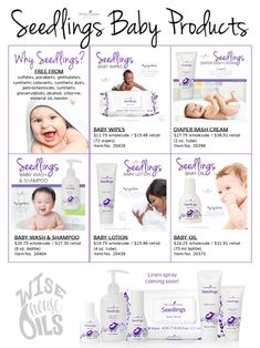 Seedlings Baby Products by Young Living - Modern Essential Oils For Babies, Calming Essential Oils, Young Living Essential Oils, Young Living Baby, Young Living Oils, Young Baby, Young Living Diffuser, Grey Nursery Boy, Baby Lotion
