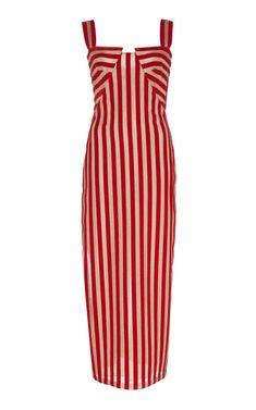 Sandra Mansour Dune Striped Velvet Midi Dress