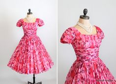 Vintage 1960s Floral Chiffon Party Dress from Jonathan Logan.
