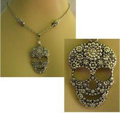 Silver Sugar Skull Pendant Necklace Jewelry Handmade NEW Accessories http://cgi.ebay.com/ws/eBayISAPI.dll?ViewItemitem=151290960295