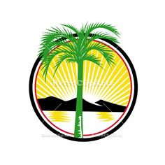 Royal Palm Beach Sea Mountain Retro Vector Stock Illustration  Retro style illustration of a royal palm tree with beach, sea or ocean and mountain in background set inside circle with sunburst on isolated background. #illustration #RoyalPalmBeach