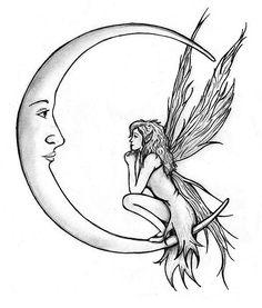 Mond und Fee Tattoo-Design ...