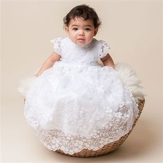 Lily Christening Gown (Girl) | Cotton Baptism Outfits & Dresses - Adorable Gowns & Dresses