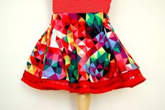 PIXEL MANIA girls toddler skirt - Circle twirl skirt handmade with geometric colourful fabric - Sizes to 6 years Party Rock, Toddler Skirt, Twirl Skirt, Party Skirt, Circle Pattern, Handmade Clothes, Your Girl, Skirt Outfits, Clothes For Sale