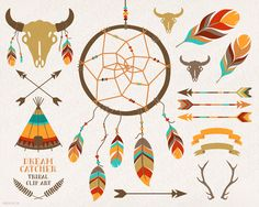 DreamCatcher, teepee, feathers, crossed arrows, tribal clipart, antlers, skull, buffalo, bison, vector, clip art, kids party stationery