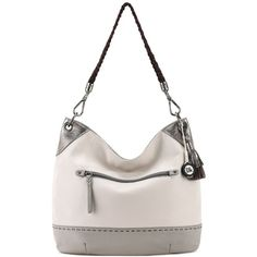 The Sak Indio Leather Colorblock Hobo ($134) ❤ liked on Polyvore featuring bags, handbags, shoulder bags, shadow sparkle block, leather shoulder bag, leather purses, hobo shoulder bags, white shoulder bag and leather shoulder handbags