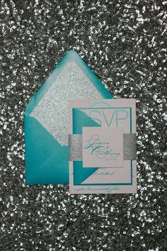 JESSICA Suite Glitter Package, peacock teal, teal and silver, foil stamping, wedding invitations, glitter, glamour, black tie