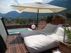 Have a good time on the roof top panorama terrace with private jacuzzi and a 360° view over Merano - the PARADISE LOFT