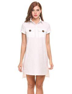 White Short Sleeve High Low Split Hem Pullover Shirt Casual Dress