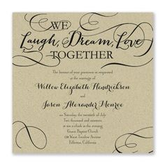 Laugh, Dream, Love Wedding Invitation - Kraft 40% Off | 10 COLORS AVAILABLE | http://mediaplus.carlsoncraft.com/Wedding/Wedding-Invitations/3214-MM31541KR-Laugh-Dream-Love--Invitation--Kraft.pro?pvc=&qty=0 | MM31541KR The mix of meaningful words and stylish typography makes this kraft wedding invitation romantic. Choose the ink or foil color and trim option for style.