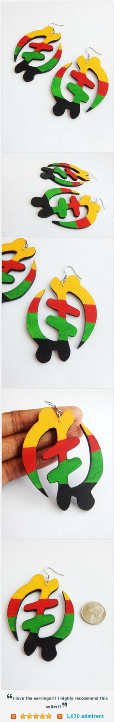 African Gye Nyame Earrings Black Wooden African Earrings Adinkra Symbol Jewelry Hand Painted Afrocentric Africa Rasta @Sweeterthejuice https://www.etsy.com/listing/459669920/