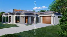 3 Bedroom House Plan - My Building Plans South Africa Open Floor House Plans, Porch House Plans, House Plans 3 Bedroom, Farmhouse Floor Plans, Family House Plans, Sims 4 House Building, Building Plans, Single Storey House Plans, House Plans Australia