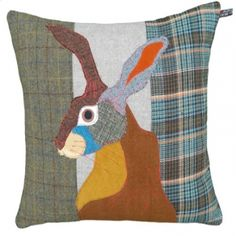 Brown Hare appliqué cushion cover using various tweeds and wool