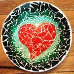 On Monday we grout! #greatmosaic #glassart #mosaic #art #craftfair #craftshow #heart #etsy #handmade #hendersonnevada #vegas""