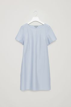 COS image 9 of Dress with draped back in Dusty Blue