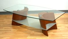 Coffee Table with Glass Top, Wood-Finish Base - Mindy