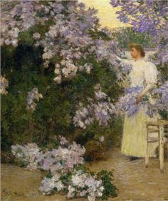 """Mrs. Hassam in the Garden"" by Frederick Childe Hassam (1858-1935), American Impressionist painter."