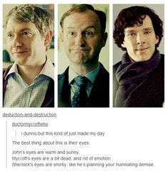 The difference in their eyes. Although, I don't agree about Mycroft.. It looks like he's just 4839362% done with you