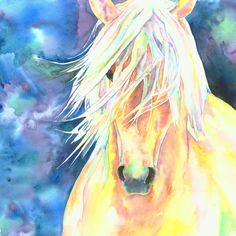 Palomino Horse (painted watercolour) by Christy Freeman