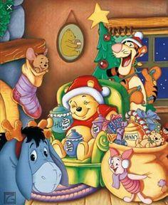 Pooh & friends for Christmas Winnie Pooh Tigger Winnie The Pooh, Winnie The Pooh Christmas, Winnie The Pooh Quotes, Winnie The Pooh Friends, Pooh Bear, Mickey And Friends, Disney Christmas, Christmas Art, Vintage Christmas