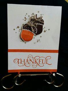 Stampin Up! Tangelo Twist, Very Vanilla, Acorny Thanks stamp set, Six Sayings stamp set, Acorn Builder Punch