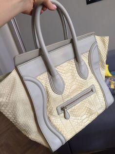 deefd0807c81 Auth Celine Mini Luggage Off White Python Tote Bag Perfect  Celine   TotesShoppers Celine Mini