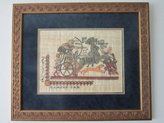 """Large Framed Egyptian Papyrus Painting """"Ramses Car"""" * Custom Framed and Matted Egyptian Papyrus 22 1/2"""" H x 26 1/2"""" W by RainbowConnection15 on Etsy"""